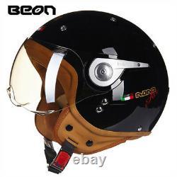 2021 BEON Motorcycle Retro Helmet Chopper 3/4 Open Face Vintage MOTO ECE Helmets