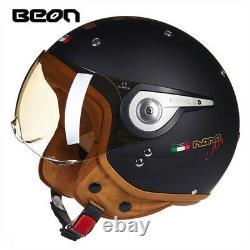 BEON 110A Motorcycle 3/4 Open Face Retro Helmet Chopper Vintage ECE Half Helmets