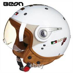 BEON 110A Motorcycle 3/4 Open Face Retro Helmet Chopper Vintage Moto ABS Helmets