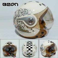 BEON 110A Retro Motorcycle Helmet 3/4 Open Face Chopper Vintage Scooter Helmets