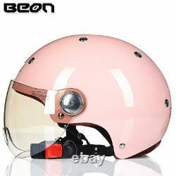 BEON Motorcycle Half Helmet Vintage Motocross Women Casco Electric Bicycle ECE