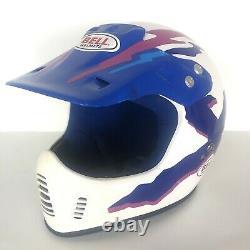 Bell Helmet Motocross Medium Full Face DOT Blue White Vintage ATV Dirt Bike
