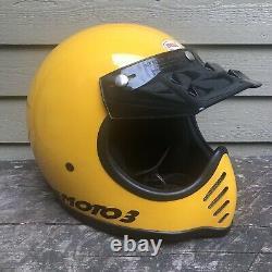 Bell Moto Star 3 Motocross Motorcycle Helmet Yellow 7 1/8 57 cm Vintage 1982