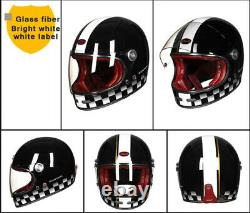 Black Retro Motorcycle Fiber Full Face Glass Helmet Vintage Motocross Helmet
