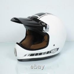 Casco Motocross Vintage Torx Brad Legend Racer White Shiny TAGLIA XS Bianco