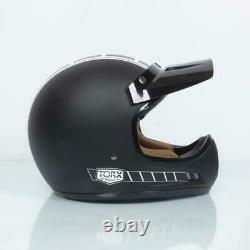 Casque moto cross vintage Torx Brad Legend Racer Black Mat Taille M noir mat