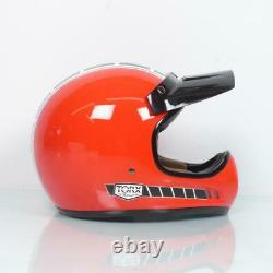 Casque moto cross vintage Torx Brad Legend Racer Red Shiny Taille M rouge