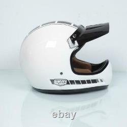 Casque moto cross vintage Torx Brad Legend Racer White Shiny Taille XL blanc