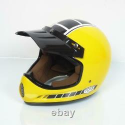 Casque moto cross vintage Torx Brad Legend Racer Yellow Shiny Taille L jaune