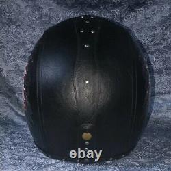 Deluxe Leather Motorcycle Helmet Full Face Motocross Race Street Bike Cruiser M
