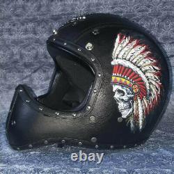 Deluxe Leather Motorcycle Helmet Full Face Motocross Racing Cruiser Helmet XL