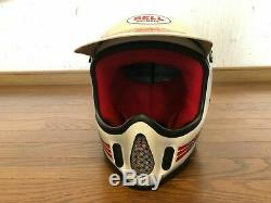 Exc+ Vintage BELL MOTO-4 White/Red Size L 7 3/8 70s 80s Motocross