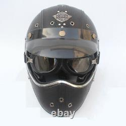 Full Face Motorcycle Helmet Deluxe Leather withGoggles Cruiser Street Motocross XL