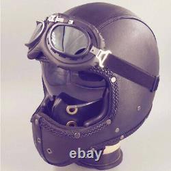 Full Face Motorcycle Helmet Intergrated Sun Visor Motocross Race Leather Helmet