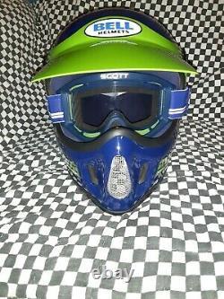 Kawasaki Vintage BELL MOTO 4 HELMET 7 1/4 VGC WITH VISOR, scott Goggles 1985