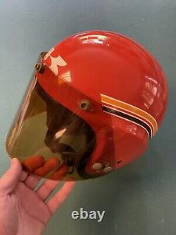 Mchal kawasaki mach ii whisper jet vintage 70s moto racing helmet + visor M