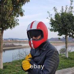 Motocross Motorcycle Helmet Full Face Integrated Sun Visor Deluxe PU Leather XL