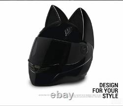 Motorcycle Helmet Ears Cat Women Motocross Full Face Helmet Dark Flip Up Visor