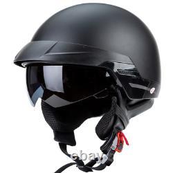 Motorcycle Helmet vintage Open Face Chopper Mat Black Motorcycle Motocross Shine
