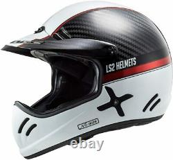 NEW LS2 Xtra Yard Vintage Carbon Fiber Full Face MX Motorcycle Helmet White/red