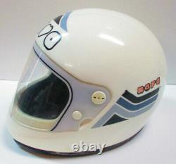 NOVA White Motorcycle Motocross Helmet Small Full Face Vintage 1970s Italy