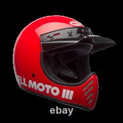 New 2020 Bell Moto 3 Red Mx Helmet XL AHRMA Honda Maico SWM Vintage Motocross