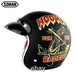 SOMAN Helmet Motorcycle Retro Half Face Helmet Scooter Vintage Biker Motocross