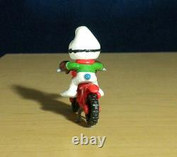 Smurfs 40231 Motocross Smurf Motorcycle Rare Vintage Figure PVC Toy Figurine 80s