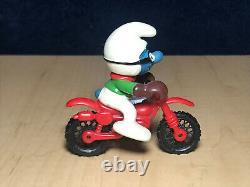 Smurfs Motocross Smurf 40231 Vintage Figure Motorcycle Toy PVC Figurine Schlumpf
