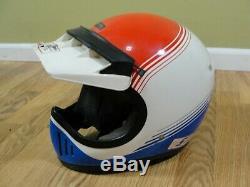 VTG Rare Honda Hondaline Pro Motocross Helmet Motorcycle 1980s Red White Blue Lg