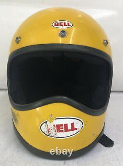 Vintage 1970 Bell Moto Star 1 full face Mx Motocross helmet yellow 7 1/8 57cm