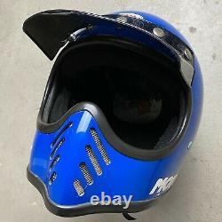 Vintage 1970's Bell Moto 3 Motocross Motorcycle Racing Helmet Blue 7 1/2