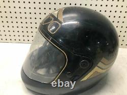 Vintage 1970's NOVA BLACK Motorcycle Motocross Helmet COOL RETRO BIKER HARLEY
