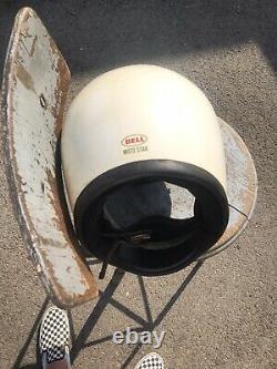 Vintage 1970s Bell Moto Star Helmet / Motocross White 7 5/8