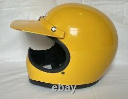 Vintage 1970s Bell Moto Star Motocross Helmet with Duckbill, Box & Papers 7 1/4