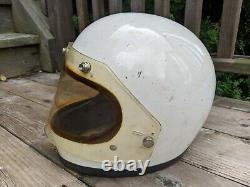 Vintage 1975 Bell Star 120 White Helmet Size 7 1/4 WithShield Racing, Motocross