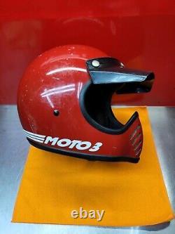 Vintage 1980 BELL MOTO 3 Motocross Helmet RED Moto Star II Size 7 3/8