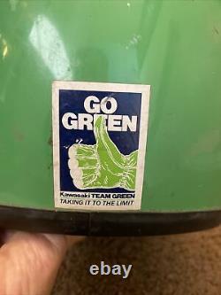 Vintage 1980s Marushin MG Moto Motocross Motorcycle Helmet Team Kawasaki Green