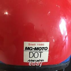 Vintage 1983 Marushin MG Moto Motocross Motorcycle Helmet Red Blue White Visor S
