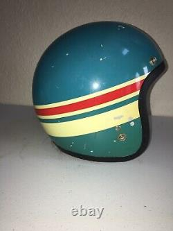 Vintage 70's / 80's SUZUKI Open Face Motocross Racing Helmet Blue White / Red