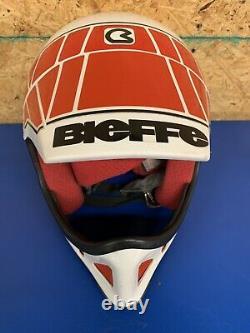 Vintage 90s Bieffe BX6 Motocross Helmet MX Motorcycle red white Small