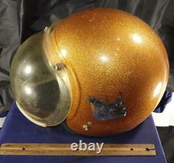 Vintage ARAI AMA Motorcycle Motocross Helmet Snap Strap Orange Space Dome Visor