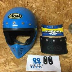 Vintage Arai Motocross Helmet MX Size L(maybe) Blue Used withJT Visor as is