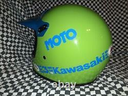 Vintage BELL MOTO 3 MOTO CROSS HELMET 7 1/8 Kawasaki VGC WITH VISOR 85