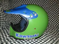 Vintage BELL MOTO 3MOTO CROSS HELMET 7 1/2 Kawasaki VGC WITH VISOR 85