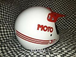 Vintage BELL MOTO 3MOTO CROSS HELMET 7 1/4 VGC WITH VISOR 85