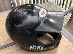 Vintage BELL MOTO-4 Force Flow Size 7 1/2 1980s Motocross RARE Black With Visor