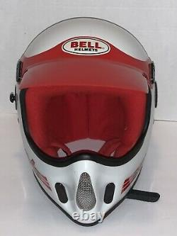 Vintage BELL MOTO 4 MOTO CROSS HELMET 7 1/2 VGC WITH VISOR Red & White