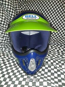 Vintage BELL MOTO 4 MOTO CROSS HELMET 7 1/8 Kawasaki VGC WITH VISOR 85