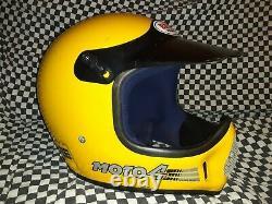 Vintage BELL MOTO 4 MOTO CROSS HELMET 7 5/8 VGC aria shoei Buco yellowithblack